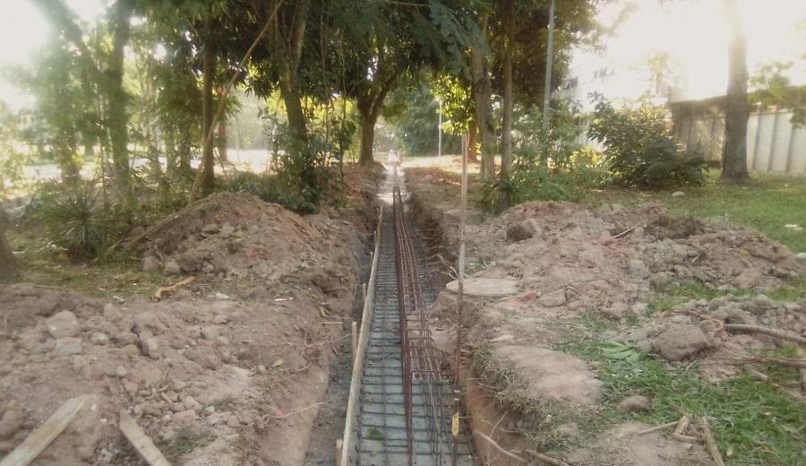 2º medição - concretagem da fundação do muro